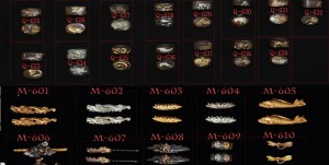 Some examples of options for fuchi, kashira, and menuki. Image from www.ryansowrd.com.