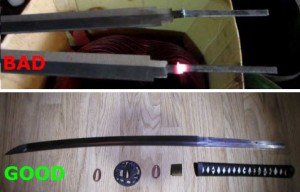 "The top image shows a spot-welded tang which can easily break and allow the blade to fly off. The bottom shows a proper ""full tang"" in which a single piece of metal extends into the handle of the sword."