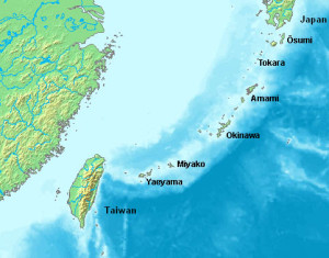 Figure 1. The Ryukyu Islands, an archipelago consisting of more than 100 small islands located between Japan and Taiwan of the coast of China. The largest island in the chain, Okinawa, is the original home of karate.