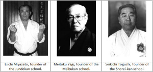Figure 5. Three of Chojun Miyagi's senior students who founded their own schools of Goju-ryu.